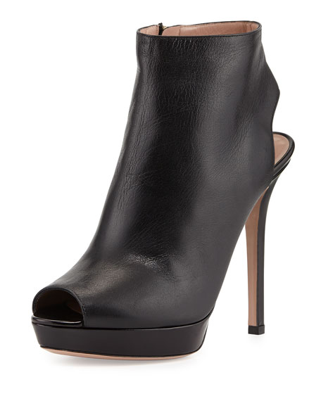 clearance find great outlet discount Giorgio Armani Leather Peep-Toe Booties clearance big sale cheap Inexpensive buy online with paypal O7w2oSTBQu