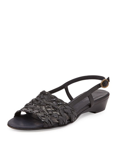 Ginny Woven Leather Slingback Sandal, Black