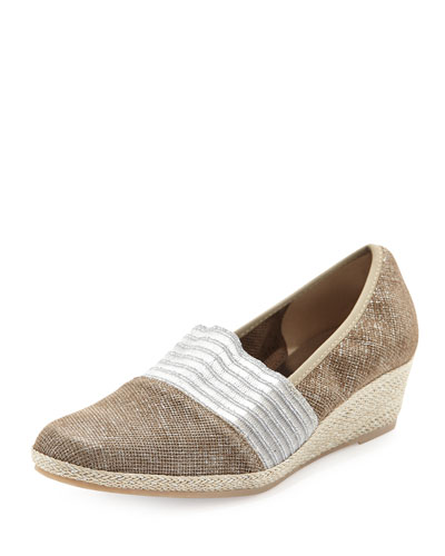 Malina Metallic Slip-On Wedge, Tortora
