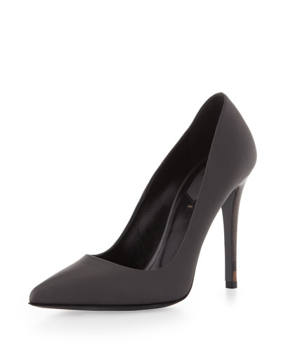 Leather Point-Toe Pump, Asphalt