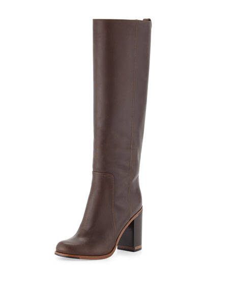 7b4cd650379 Fendi Leather Block-Heel Knee Boot
