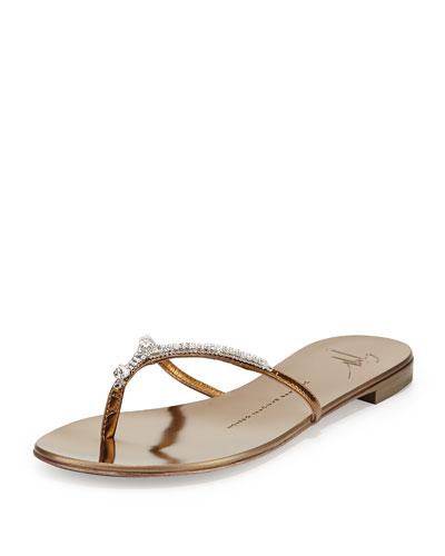 Metallic Crystal Flat Thong Slide Sandal, Bronze