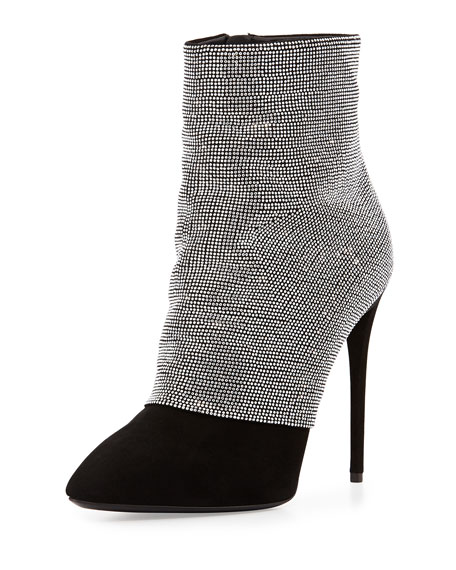 77e28bdcb73 Giuseppe Zanotti Strass and Suede Ankle Boot