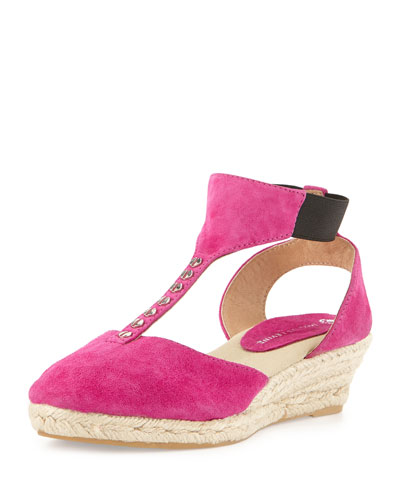 Diana Suede T-Strap Wedge Sandal, Fuchsia