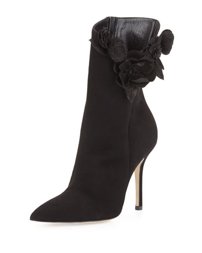 Carmen Suede Flower Ankle Boot, Black