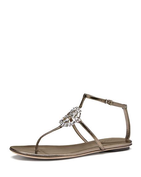 7b0679b5f76 Gucci GG Crystal Thong Sandal