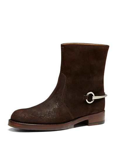 Suede Horsebit Ankle Boot, Cocoa