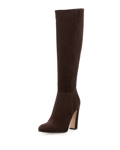 Suede Knee Boot, Dark Brown