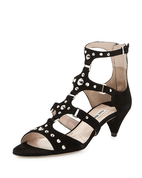 Low Studded Suede Heel Nero Sandal Nmwn0vO8