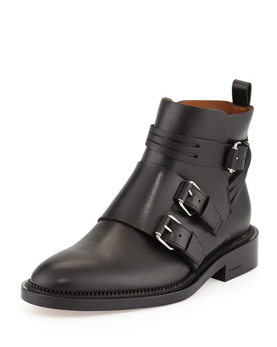 Monk-Strap Calfskin Ankle Boot, Black
