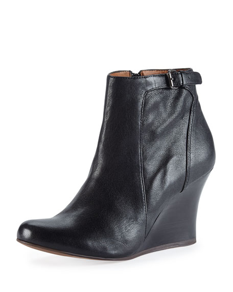 b8e293d066d Lanvin Leather Wedge Ankle Boot