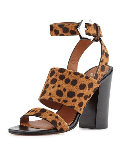 Leopard-Print Calf Hair City Sandal