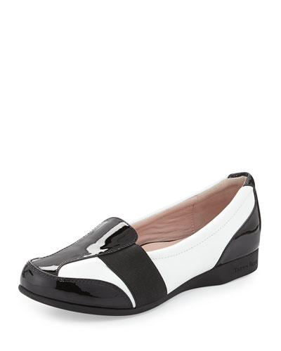 Taurus Flat Slip-On Loafer, White/Black