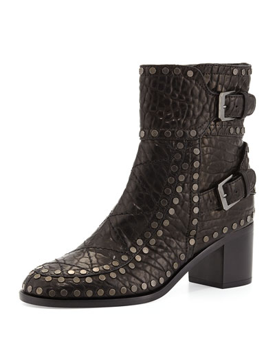 Gatsby Wrinkled Studded Ankle Boot, Black/Ruthenium