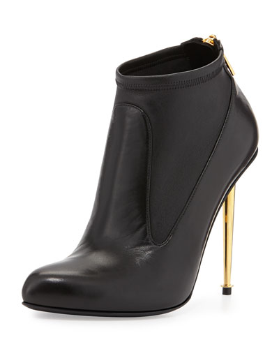 Leather Stretch Zip-Back Bootie