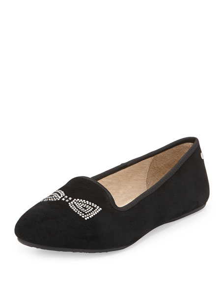 6074cd7e643 Alloway Crystal Bow Suede Flat Black