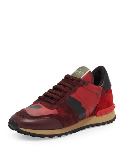 Rockstud Camo-Print Sneaker, Red