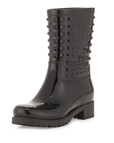 Rockstud Rubber Rainboot, Black