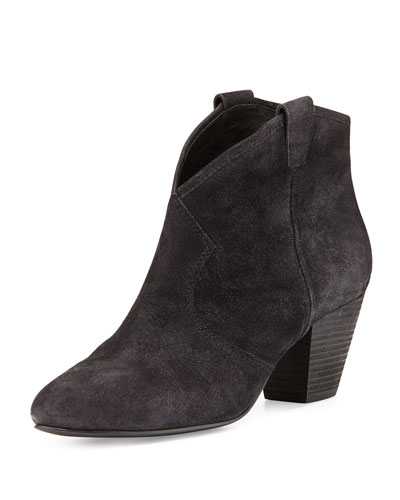 Jalouse Suede Slip-On Western Ankle Bootie, Black