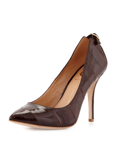 Chantilli Eelskin Point-Toe Pump, Bordeaux