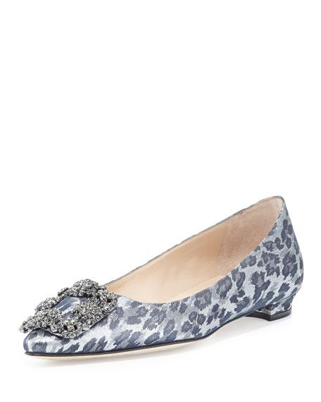 manolo blahnik hangisi shimmery crystal buckle flat leopard rh neimanmarcus com