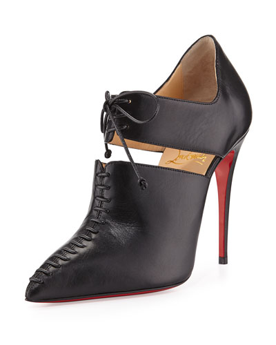 Corsita Cutout Leather Red Sole Ankle Boot, Black