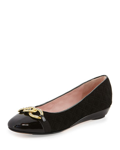 Priya Suede Chain-Buckle Slip-On, Black