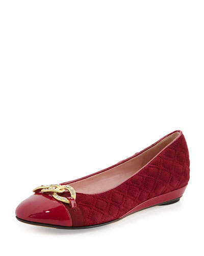 Priya Suede Chain-Buckle Slip-On, Beet Red