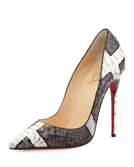 4c66775ade4 So Kate Python Red Sole Pump Gray/White