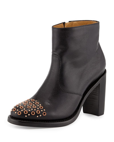 Stamped Leather Grommet-Toe Bootie