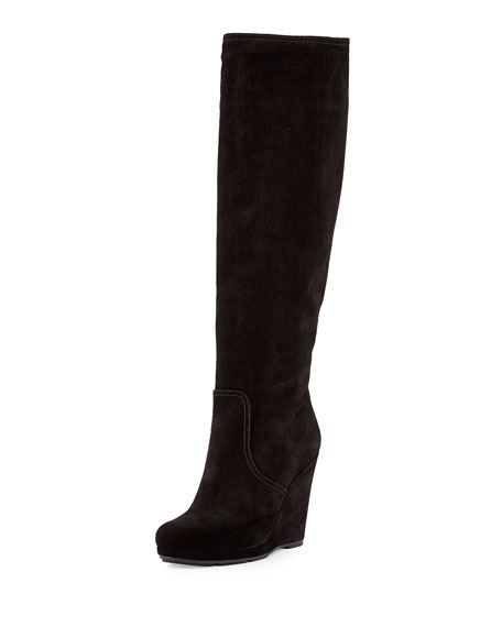 Prada Suede Knee-High Wedge Boots excellent sale online cheap wholesale footlocker finishline clearance store cheap price XjTho5szc