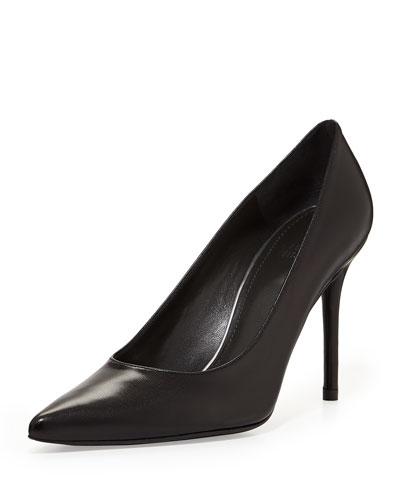 Flirt Leather Point-Toe Pump, Black