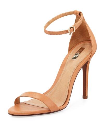 Cadey-Lee Leather Ankle-Strap Sandal, Light Wood