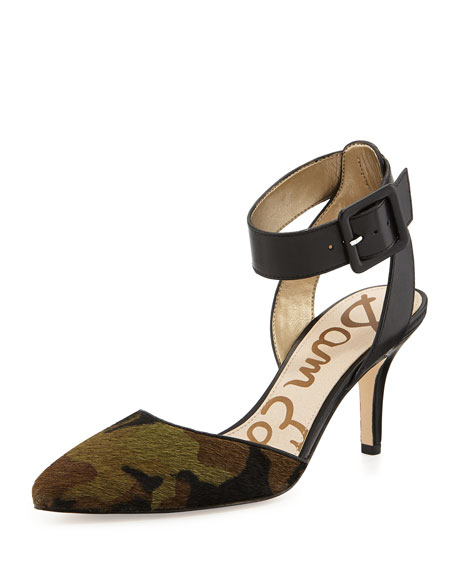 2ced6f521d08 Sam Edelman Okala Camo Calf-Hair   Leather Ankle-Wrap Pump
