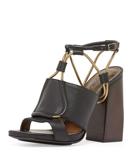 Sandal Heel Leather Block Black Strap Chain NOXZ8kPn0w