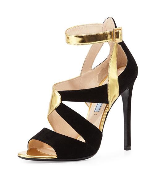0bc1df8cfba Prada Suede   Metallic Crisscross Sandal