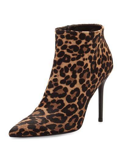Hitimes Leopard-Print Calf Hair Ankle Boot, Chocolate