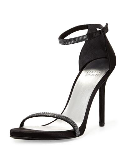 Twinkle Strobe-Crystal Naked Sandal, Black