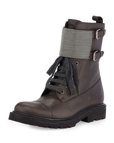 Lace-Up Monili Combat Boot, Graphite