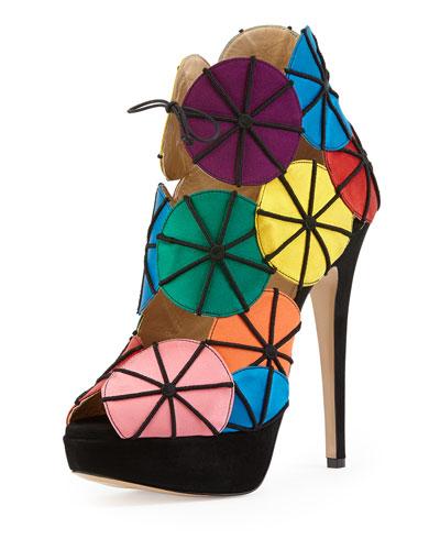 Parasol Satin Platform Sandal, Multicolor