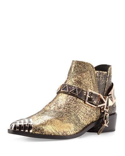 Santa Fe Embellished Ankle Boot, Gold