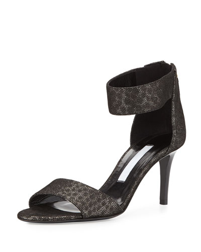 Kinder Metallic Kitten Heel Sandal, Pewter