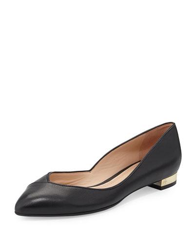 Niki Point-Toe Leather Flat, Black