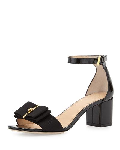 Trudy Patent Bow Sandal, Black