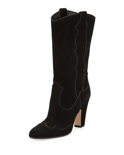 High-Heel Suede Western Boot