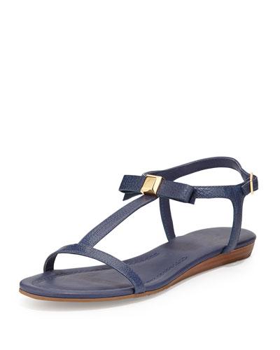 tessa bow leather flat sandal, navy