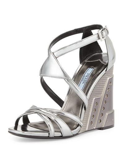 Crisscross Molded Wedge Sandal, Chrome (Cromo)