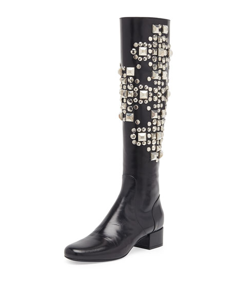 Saint Laurent Studded Leather Knee Boot f7bab27e585a