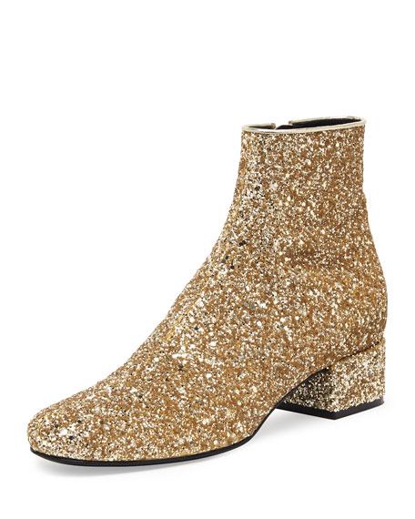 dfae3aafa9f Saint Laurent Mod Glitter Ankle Boot, New Platine