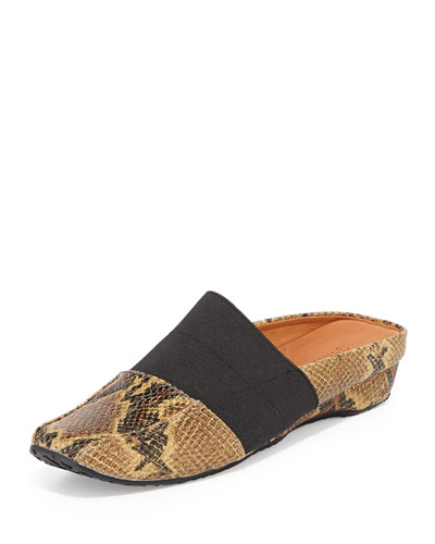 Iso Snake-Print Stretch Mule